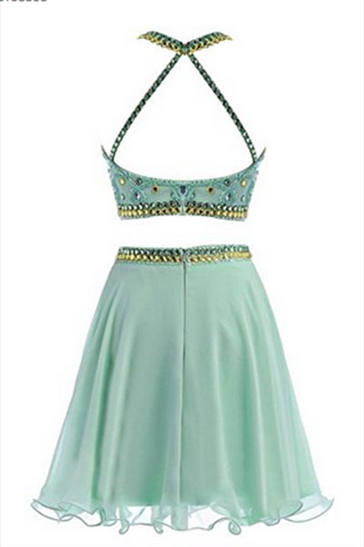 Light green chiffon sexy two pieces sequins beaded A-line halter short dresses for teens - prom dresses 2018