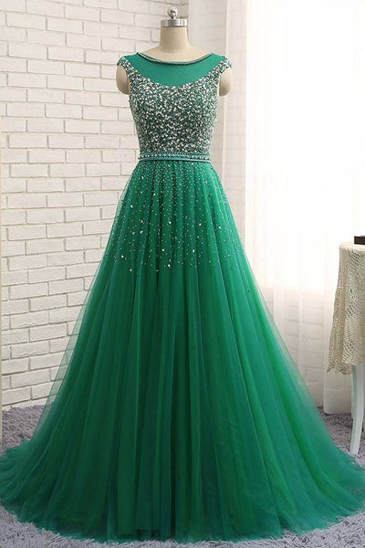 Green tulle sequins round neck long dresses,charming A-line evening dresses - prom dresses 2018