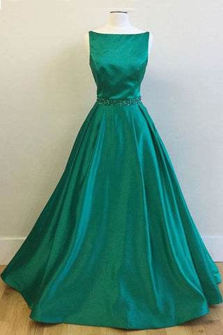 Green satin O neck long prom dress for teens,  evening dress