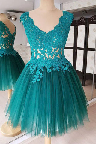 Turquoise tulle short V neck lace prom dress, short bridesmaid dress
