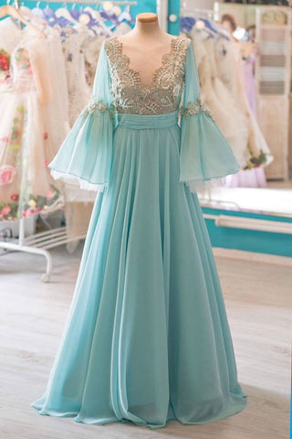 Green chiffon V neck mid sleeves A-line spring long senior prom dress with lace
