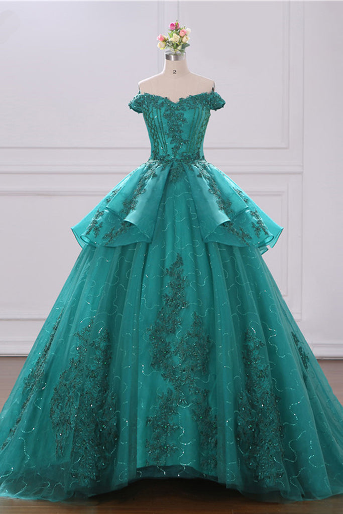 2019 Prom Dresses | 2019 Off Shoulder Green Tulle Layered Long Court Prom Dress, Formal Lace Ball Gown