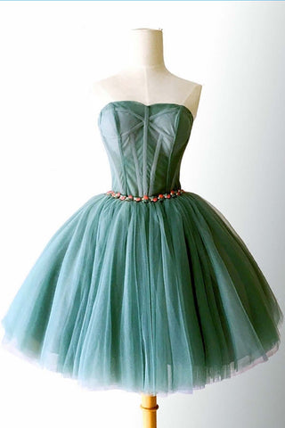 Sweet 16 Dresses | Dark green tulle strapless mini party dress, beaded short prom dress