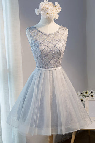 Grey lace short satin prom dress for teens, short party dresses
