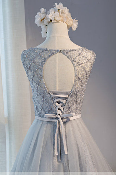 2018 evening gowns - Grey lace short satin prom dress for teens, short party dresses