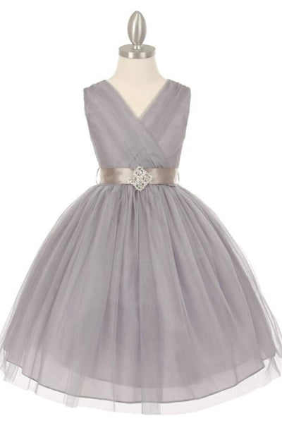 Gray organza A-line beading sash V-neck girls dress  with straps - occasion dresses by Sweetheartgirls