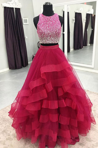 Hot pink tulle two piece sequins long homecoming dress, long halter party dress