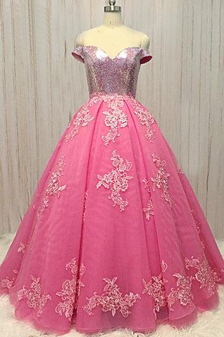 Hot Pink Tulle Sequined Off Shoulder Long Prom Dress For Teens