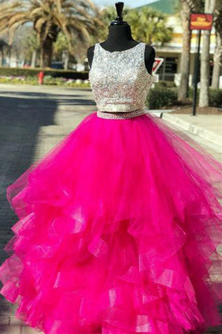 Hot Pink Tulle Two Pieces Sequined Long Homecoming Dress, Prom Dress