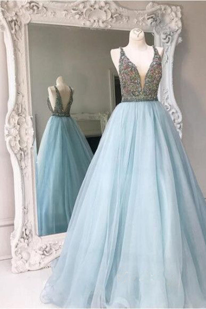Elegant blue tulle V neck A-line sequins bridesmaid long dress ...