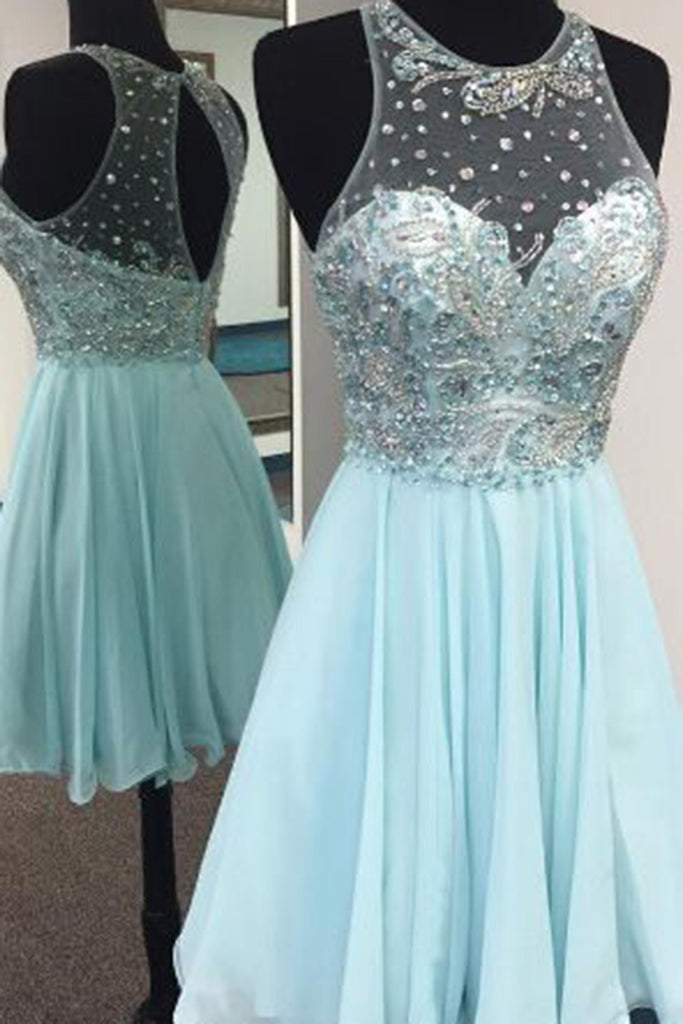 2018 evening gowns - Light blue chiffon round neck beading A-line short prom dress,summer dresses for teens