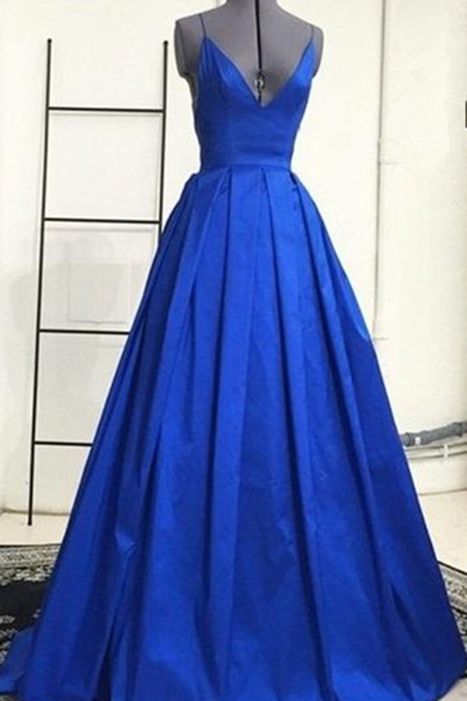 Prom 2020 | Royal blue satins V-neck A-line open back long dress,  new formal prom dress with spaghetti straps