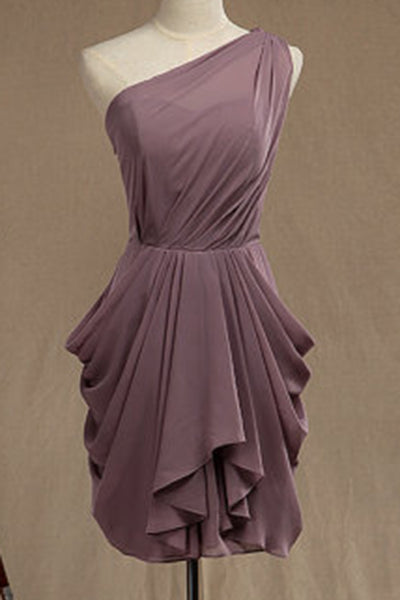 2019 Prom Dresses | Brown chiffon one shoulder  short dresses,casual dresses with straps