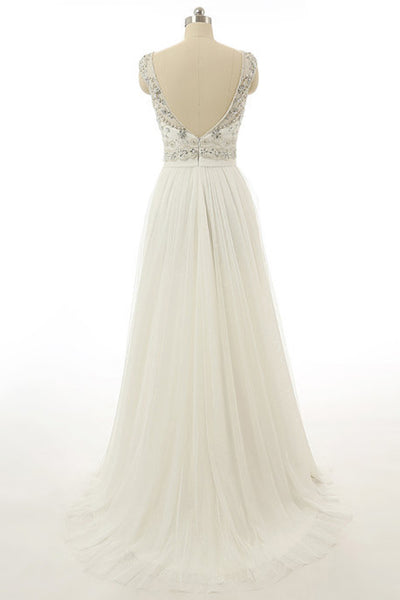 Sweet 16 Dresses | White chiffon round neck beading see-through A-line long evening dresses ,open back long prom dress