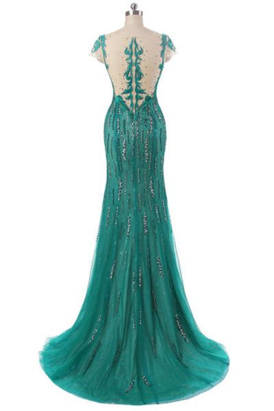 Green tulle beading sequins round neck see-through mermaid long evening dresses - occasion dresses by Sweetheartgirls