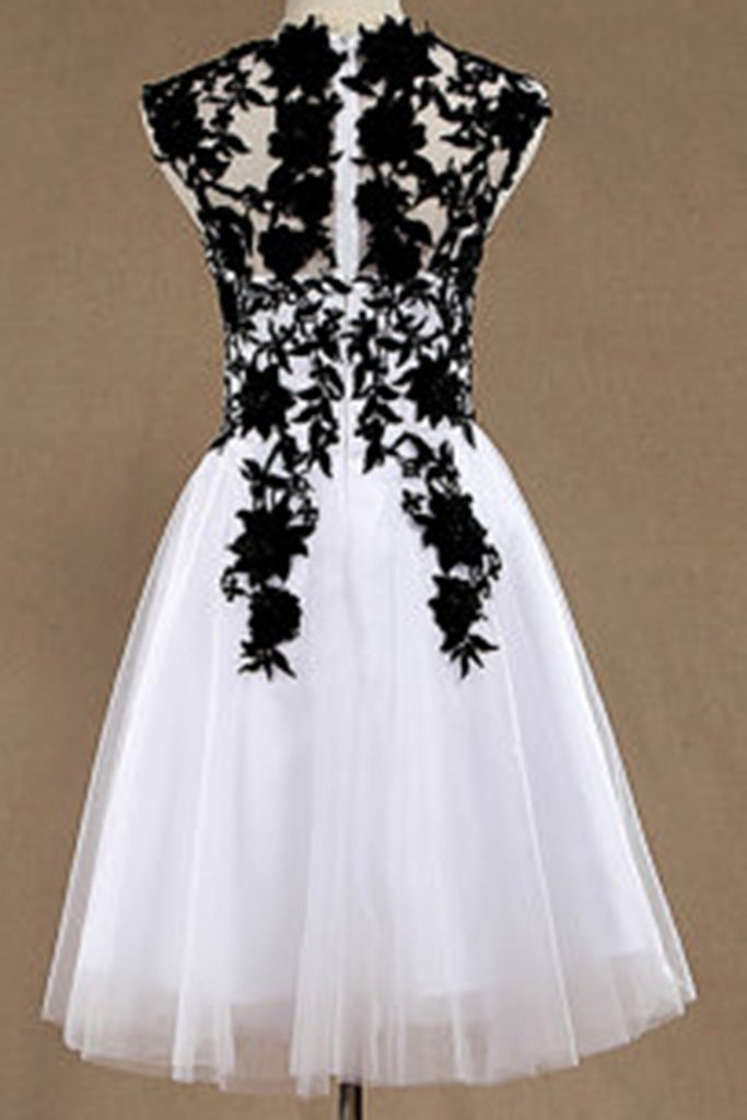 White Organza Black Lace Applique Round Neck Short Dressescasual Dresses With Straps