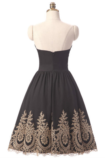 Sweet 16 Dresses | Simple black sweetheart gold lace A-line short dresses,casual dresses for teens