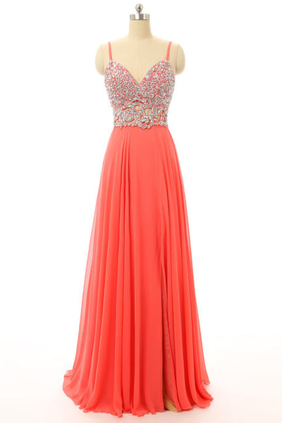 2018 evening gowns - Orange chiffon beaded V-neck A-line open back long evening dresses for teens,long prom dress with straps