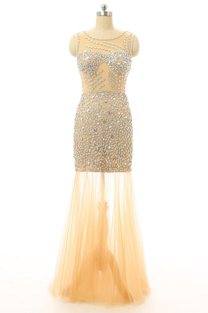 Sweet 16 Dresses | Elegant ivory tulle sequins round neck see-through mermaid long evening dresses