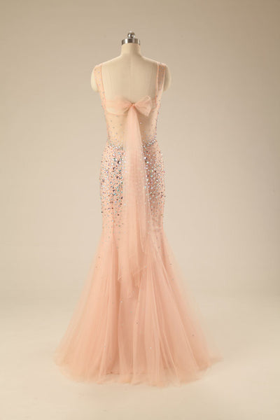 Light orange tulle beading sequins round neck bowknot mermaid long evening dresses - occasion dresses by Sweetheartgirls