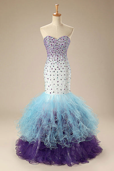 Cute organza sweetheart beading mermaid long evening dresses for teens graduation - occasion dresses by Sweetheartgirls