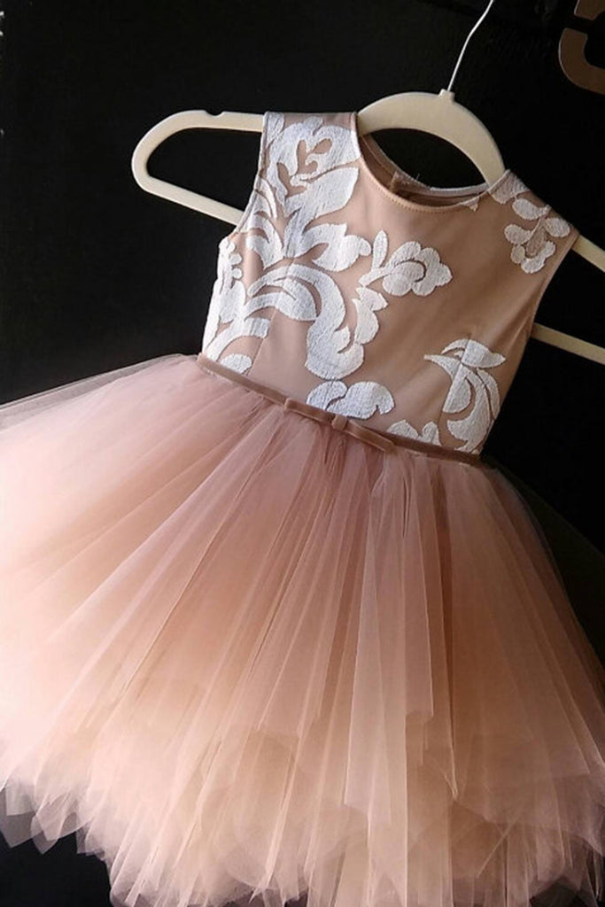 Cute princess  champagne organza A-line applique girls dress  with straps - occasion dresses by Sweetheartgirls