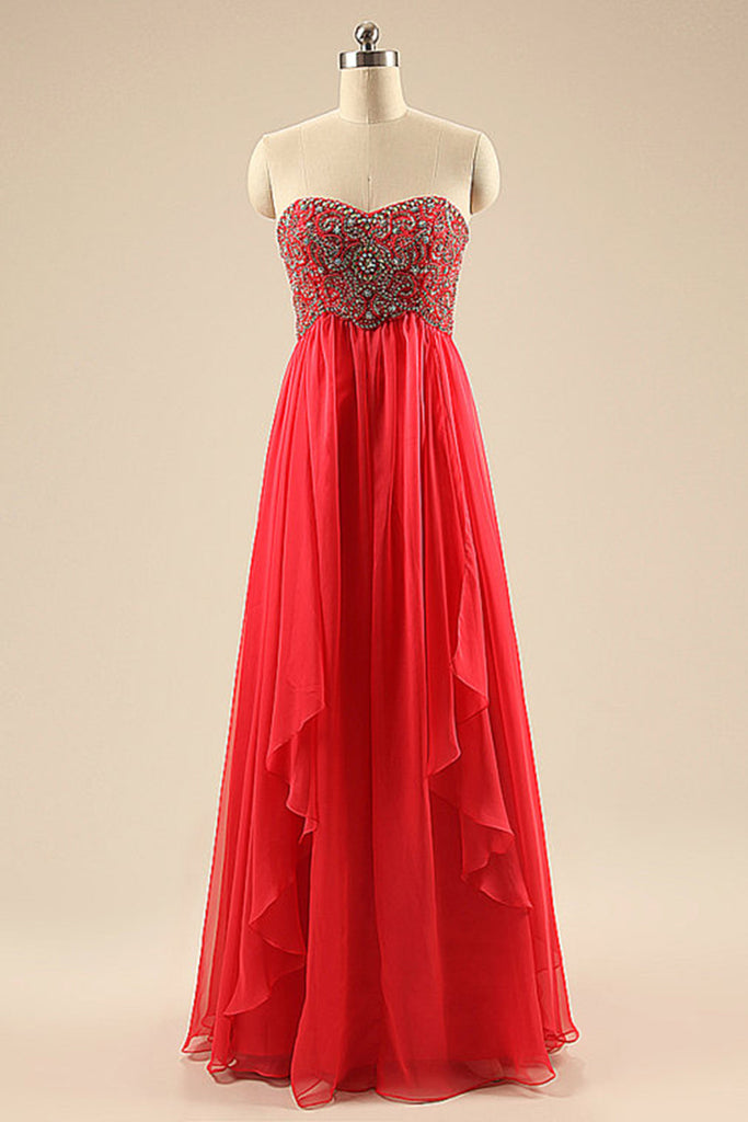 Luxury red chiffon beaded sweetheart A-line long evening dresses for ...