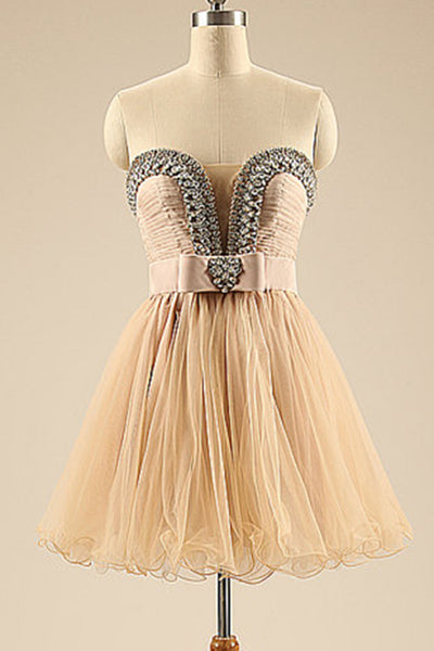 Cute ivory organza sequins beading sweetheart A-line princess short dress formal dresses - prom dresses 2018