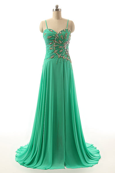 Green chiffon beaded A-line simple long evening dresses for teens,long prom dress with straps - prom dresses 2018