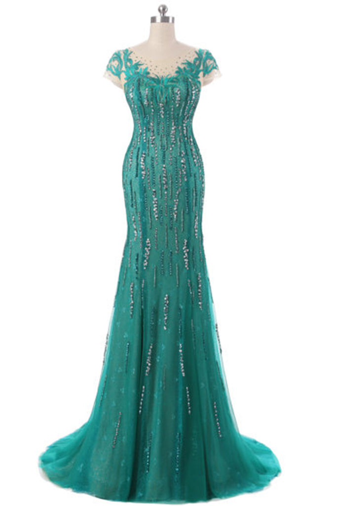 Sweet 16 Dresses | Green tulle beading sequins round neck see-through mermaid long evening dresses