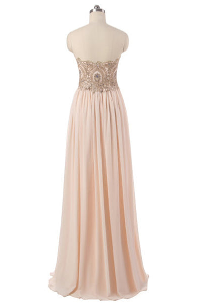 Ivory chiffon beaded sweetheart A-line simple long evening dresses for teens,long prom dress - occasion dresses by Sweetheartgirls