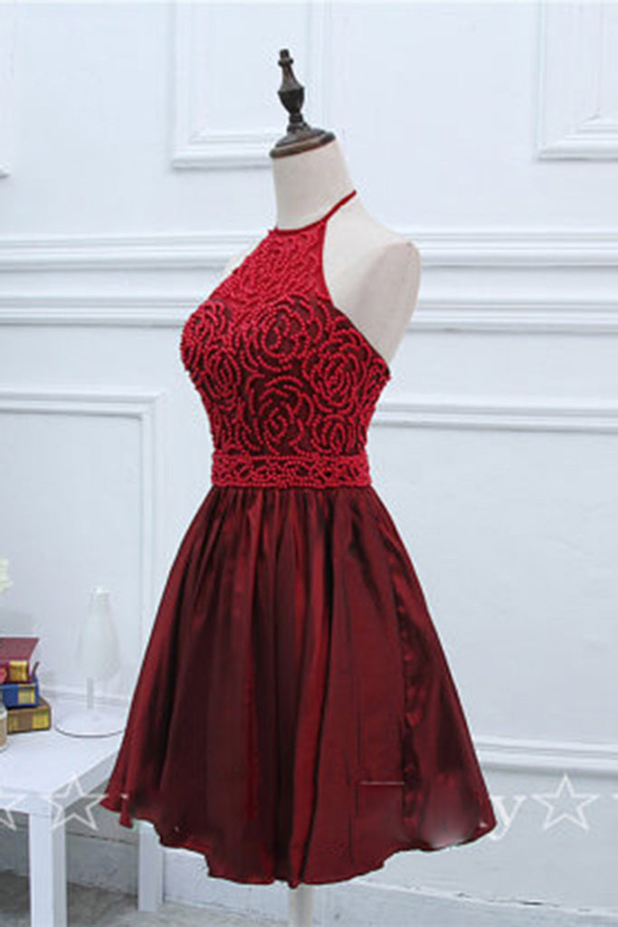 2019 Prom Dresses | Crimson satins beading halter backless A-line short dress,evening dresses