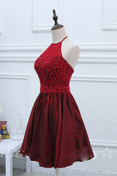 Sweet 16 Dresses | Crimson satins beading halter backless A-line short dress,evening dresses