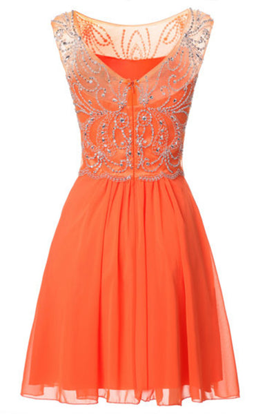 2019 Prom Dresses | Cute orange chiffon round neck sequins beading A-line short dresses,casual dresses for teens