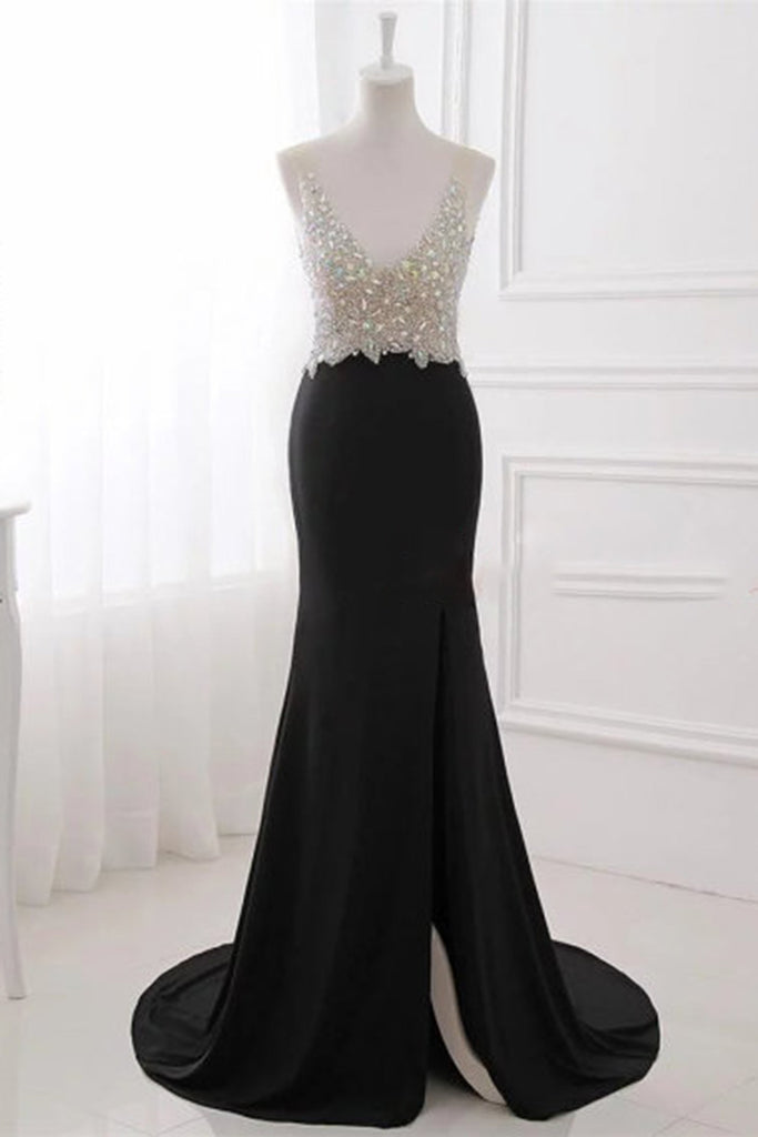 Sexy black chiffon sequins top V-neck backless long dresses,evening dresses - prom dresses 2018