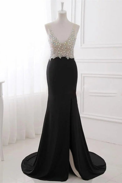 Sweet 16 Dresses | Sexy black chiffon sequins top V-neck backless long dresses,evening dresses