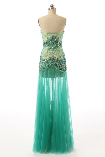Green tulle sweetheart  see-through beading evening dresses ,long prom dresses - occasion dresses by Sweetheartgirls