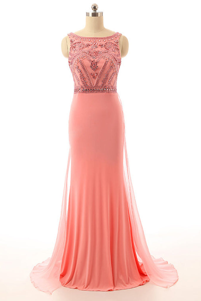 Sweet 16 Dresses | Peach chiffon beading sequins round neck mermaid long evening dresses,formal dresses