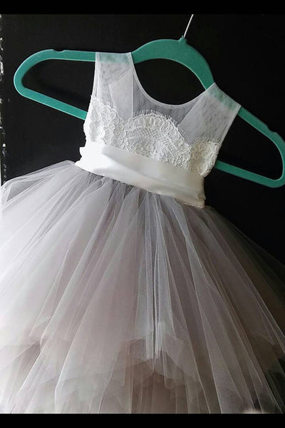 Cute princess gray organza A-line lace short girls dress  with straps - occasion dresses by Sweetheartgirls