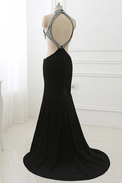 2018 evening gowns - Luxury black chiffon rhinestone open back long dress,sexy dresses for prom