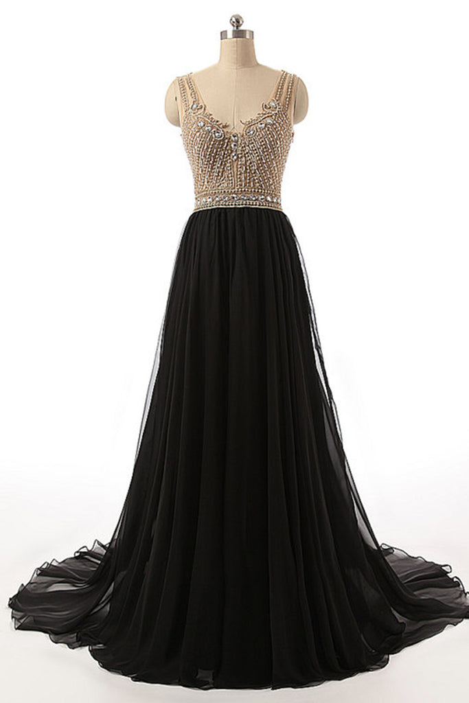 Black chiffon V-neck beading see-through A-line backless long evening dresses ,floor-length dresses - prom dresses 2018