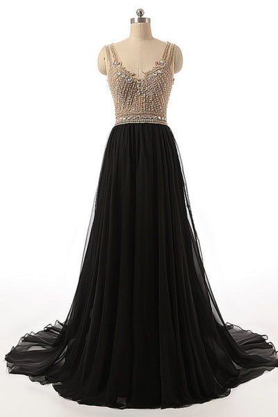 2018 evening gowns - Black chiffon V-neck beading see-through A-line backless long evening dresses ,floor-length dresses