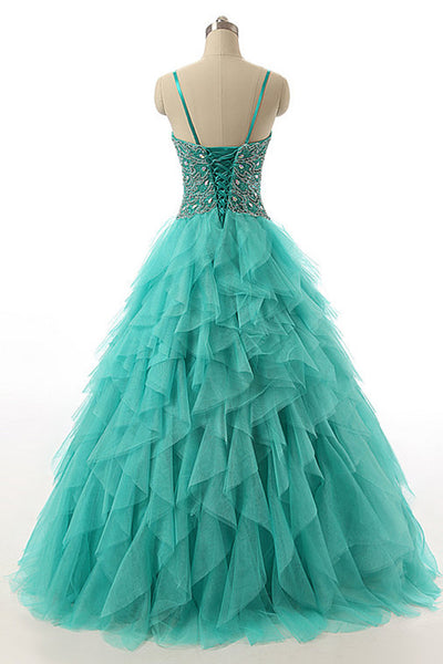 Green organza beading A-line long evening dresses for teens graduation,princess dress with straps - occasion dresses by Sweetheartgirls