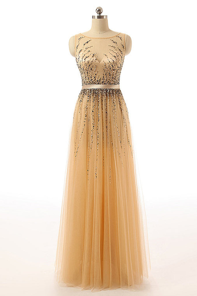2018 evening gowns - Champagne tulle round neck sequins A-line long dress,formal dresses for prom