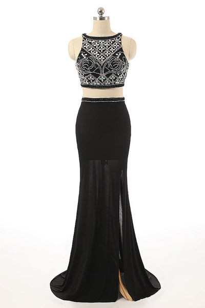 2019 Prom Dresses | Black chiffon two pieces round neck beading long evening dresses ,full-length dresses