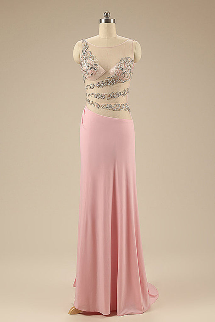 Pink chiffon beaded V-neck see-through long evening dresses ,long prom dress with straps - occasion dresses by Sweetheartgirls