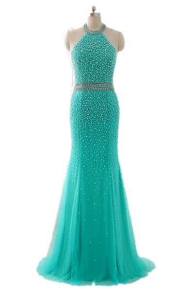 Turquoise tulle beading halter backless mermaid long dress,evening dresses - prom dresses 2018