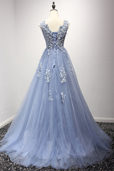 Sky blue tulle round neck lace applique A-line long dress,formal dresses for prom - prom dresses 2018