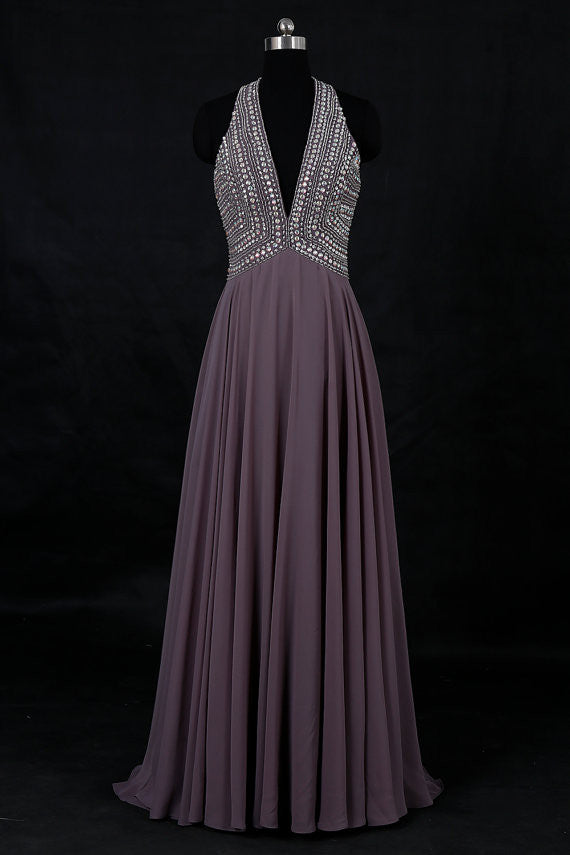 2019 Prom Dresses | Chiffon sexy deep v-neck sequins halter backless long dresses,evening dresses