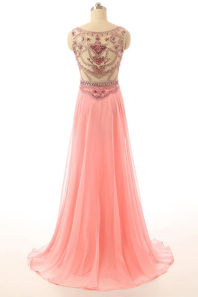 Peach chiffon beading sequins round neck mermaid long evening dresses,formal dresses - occasion dresses by Sweetheartgirls